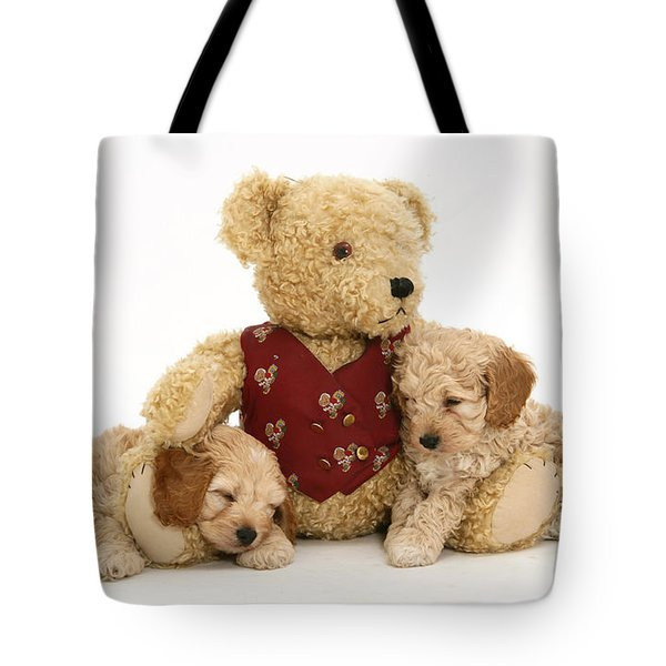 Teddy Bear With Puppies Tote Bag by Jane Burton