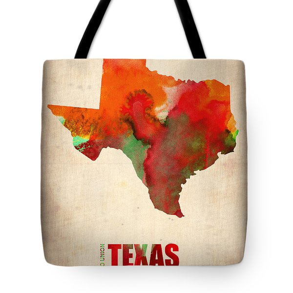 Texas Watercolor Map Tote Bag by Naxart Studio