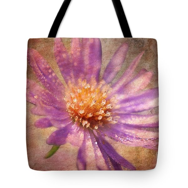 Textured Aster Tote Bag by Lois Bryan