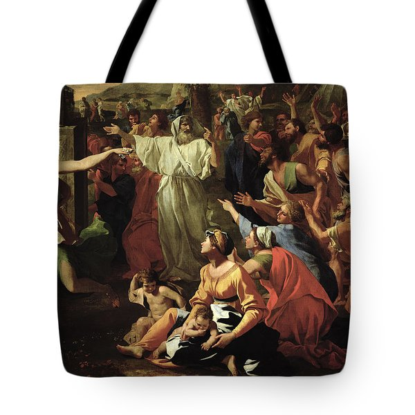 The Adoration Of The Golden Calf Tote Bag by Nicolas Poussin