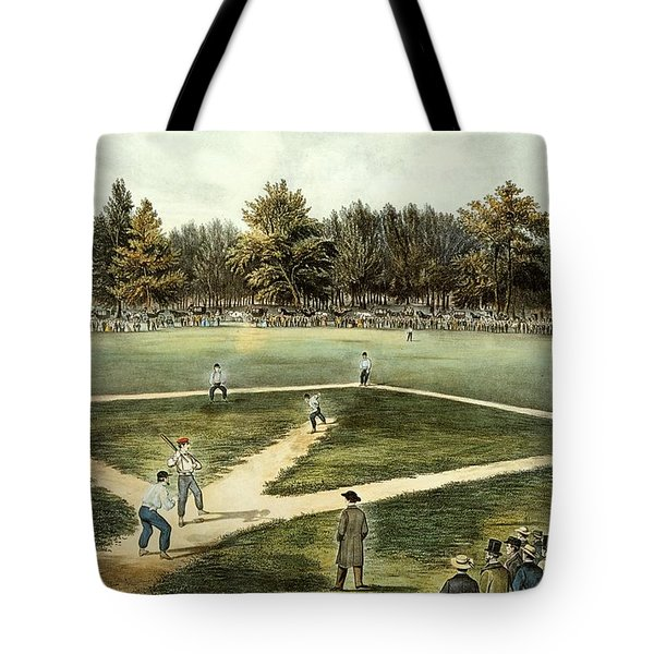 The American National Game Of Baseball Grand Match At Elysian Fields Tote Bag by Currier and Ives