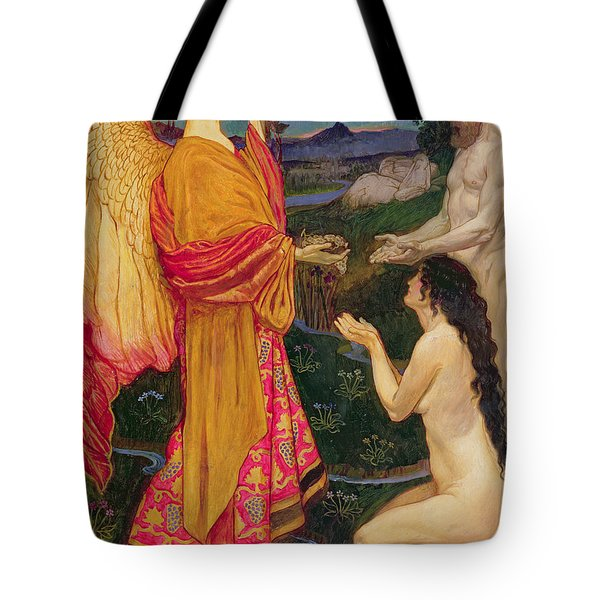 The Angel Offering The Fruits Of The Garden Of Eden To Adam And Eve Tote Bag by JBL Shaw
