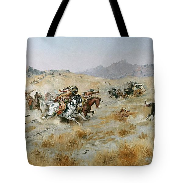 The Attack Tote Bag by Charles Marion Russell