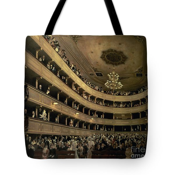 The Auditorium Of The Old Castle Theatre Tote Bag by Gustav Klimt