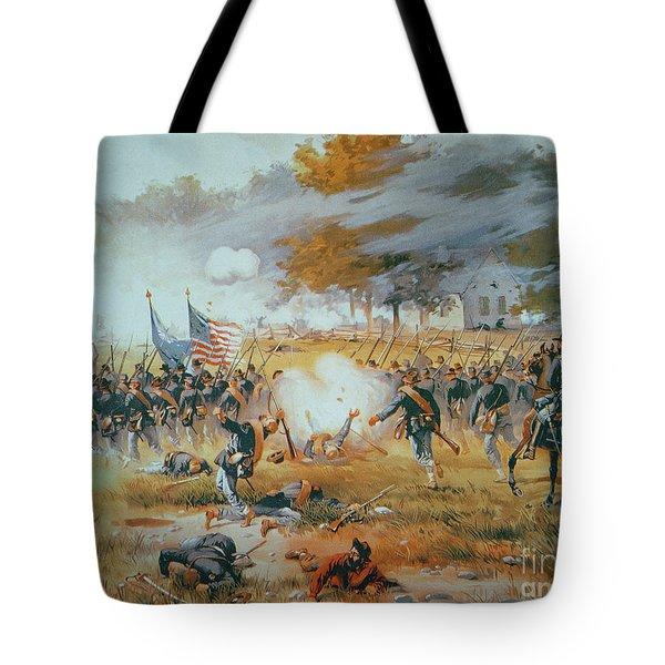 The Battle Of Antietam Tote Bag by Thure de Thulstrup