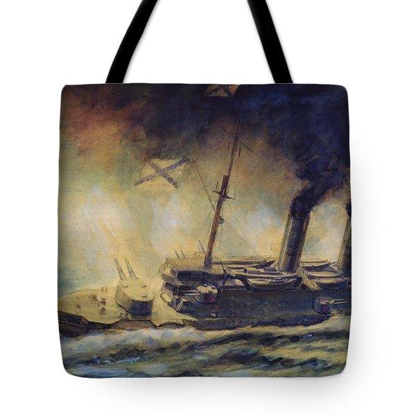 The Battle Of The Gulf Of Riga Tote Bag by Mikhail Mikhailovich Semyonov