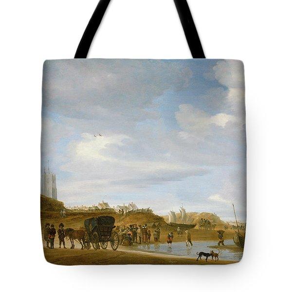 The Beach At Egmond An Zee Tote Bag by Salomon van Ruysdael
