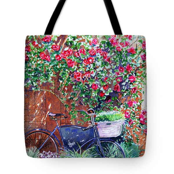 The Bike At Bistro Jeanty Napa Valley Tote Bag by Gail Chandler