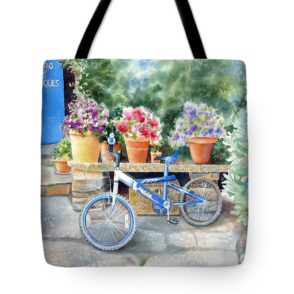 The Blue Bicycle Tote Bag by Deborah Ronglien