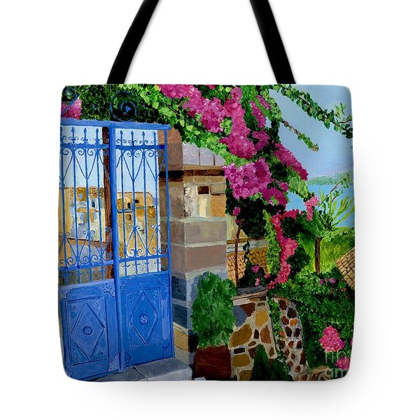 Tote Bag featuring the painting The Blue Gate  by Rodney Campbell