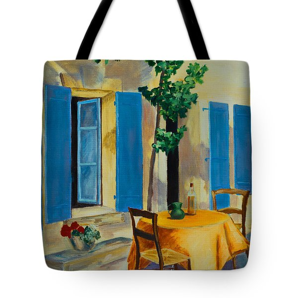 The Blue Shutters Tote Bag by Elise Palmigiani