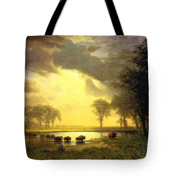 The Buffalo Trail Tote Bag by Bierstadt Albert