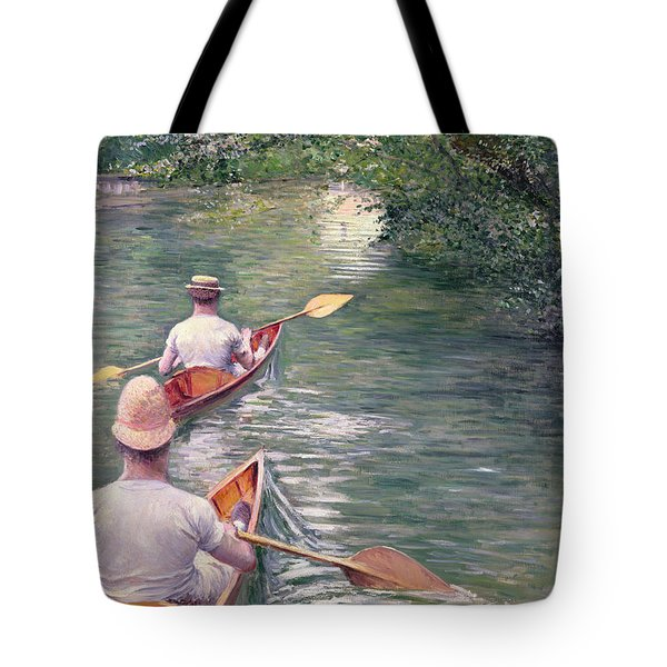 The Canoes Tote Bag by Gustave Caillebotte