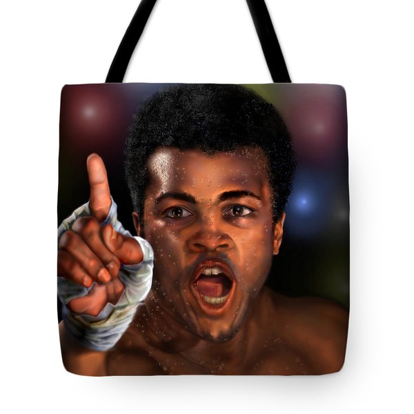 The Champ Is Here -period Tote Bag by Reggie Duffie