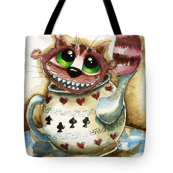 The Cheshire Cat - In A Teapot Tote Bag by Lucia Stewart