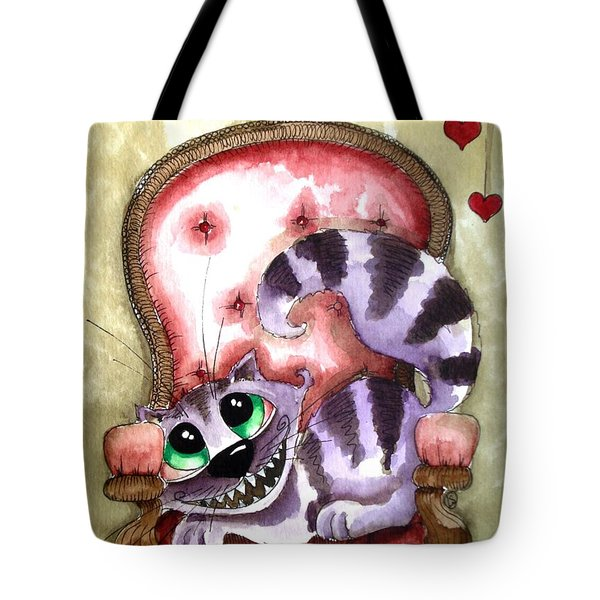 The Cheshire Cat - Lovely Sofa Tote Bag by Lucia Stewart