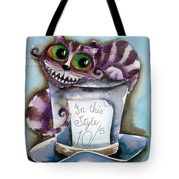 The Chesire Cat Tote Bag by Lucia Stewart