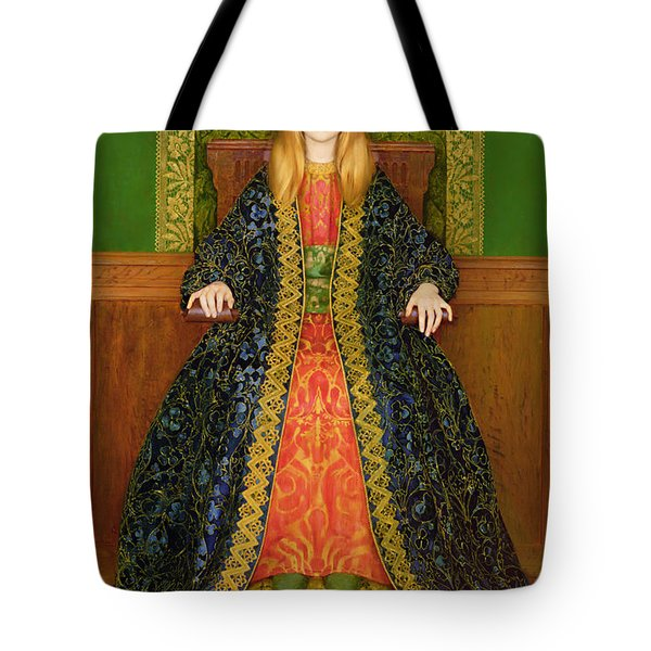 The Child Enthroned Tote Bag by Thomas Cooper Gotch