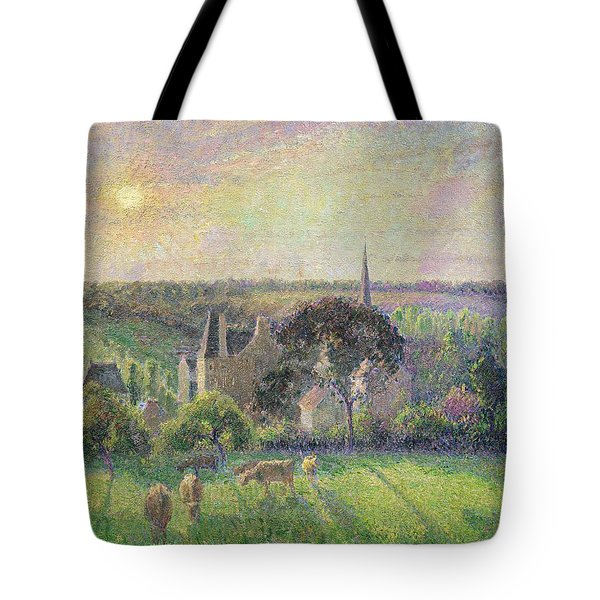 The Church And Farm Of Eragny Tote Bag by Camille Pissarro