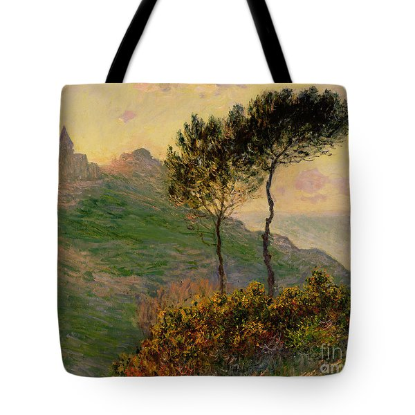 The Church At Varengeville Against The Sunlight Tote Bag by Claude Monet