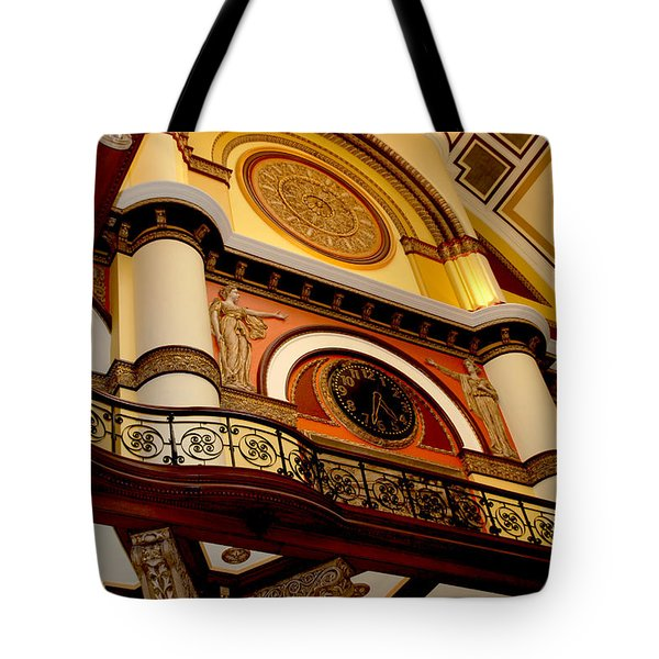The Clock in the Union Station Nashville Tote Bag by Susanne Van Hulst