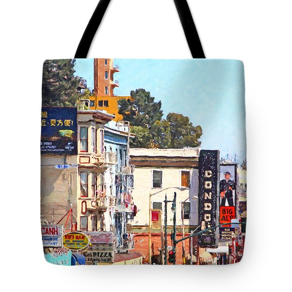 The Condor On Broadway And Columbus Street In San Francisco Tote Bag by Wingsdomain Art and Photography