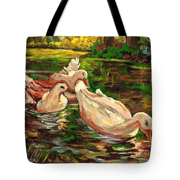 The Duck Pond At Botanical Gardens Tote Bag by Carole Spandau