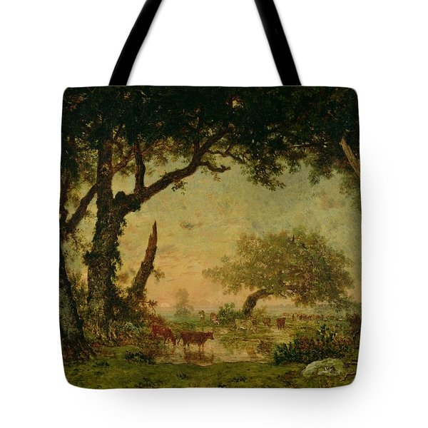 The Edge Of The Forest At Fontainebleau Tote Bag by Theodore Rousseau