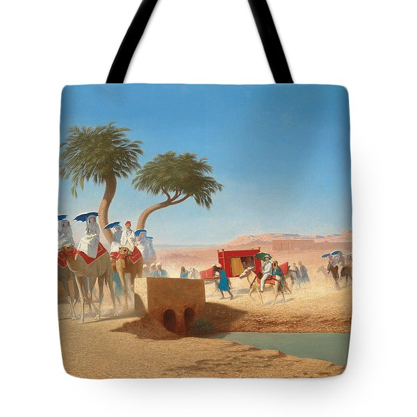 The Empress Eugenie Visiting The Pyramids Tote Bag by Charles Theodore Frere