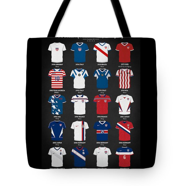 The Evolution Of The Us World Cup Soccer Jersey Tote Bag by Taylan Apukovska