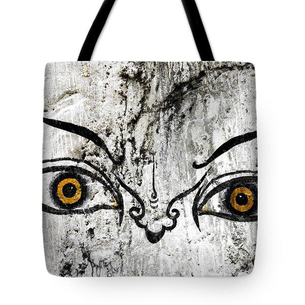 The Eyes Of Guru Rimpoche  Tote Bag by Fabrizio Troiani