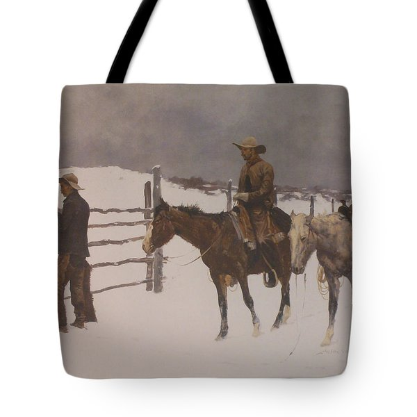 The Fall Of The Cowboy Tote Bag by Frederic Remington