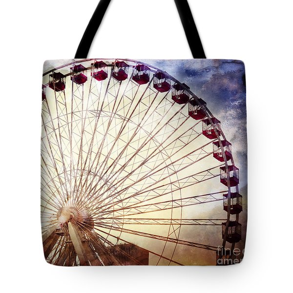 The Ferris Wheel At Navy Pier Tote Bag by Mary Machare