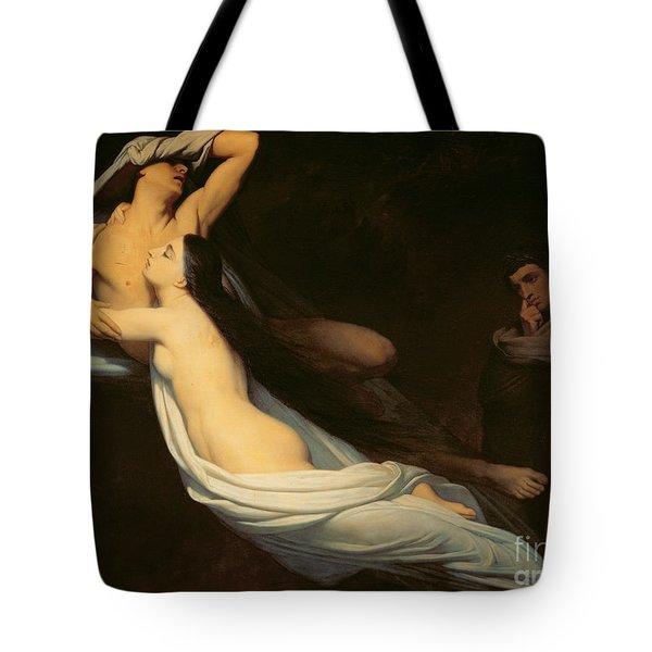 The Figures Of Francesca Da Rimini And Paolo Da Verrucchio Appear To Dante And Virgil Tote Bag by Ary Scheffer
