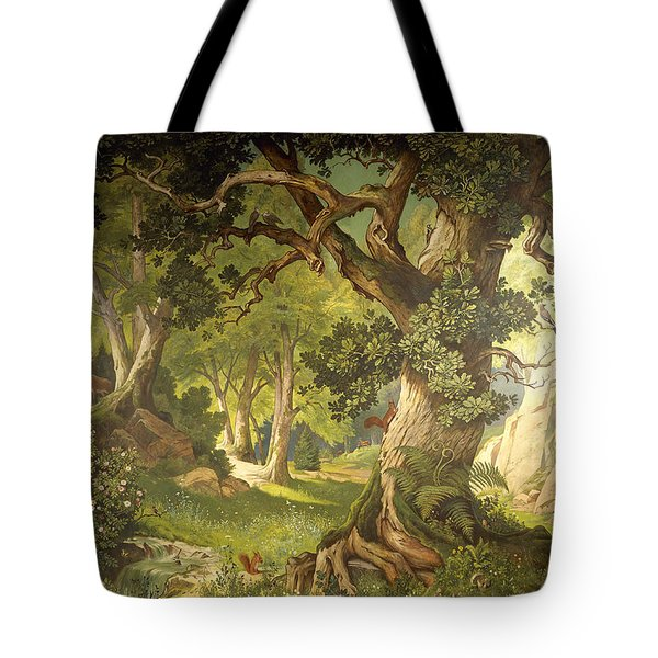 The Garden Of The Magician Klingsor, From The Parzival Cycle, Great Music Room Tote Bag by Christian Jank