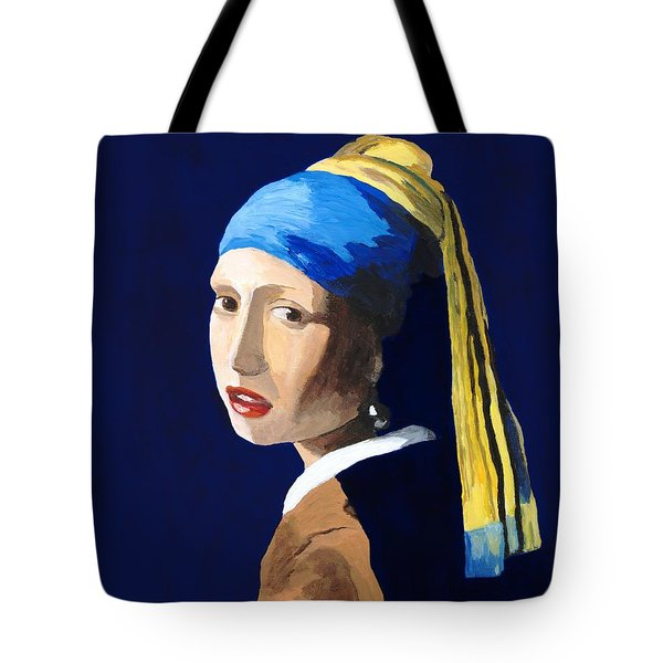 Tote Bag featuring the painting The Girl With A Pearl Earring After Vermeer by Rodney Campbell
