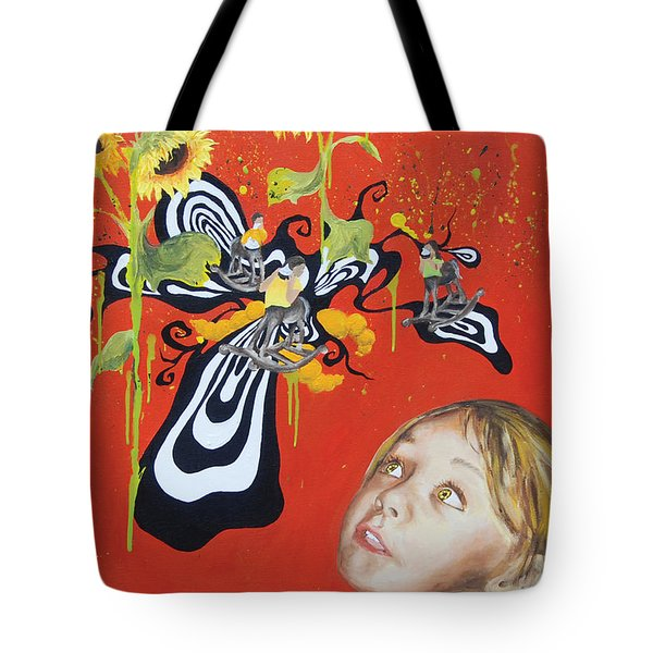 The Girl With Kaleidoscope Eyes Tote Bag by Jacqueline DelBrocco