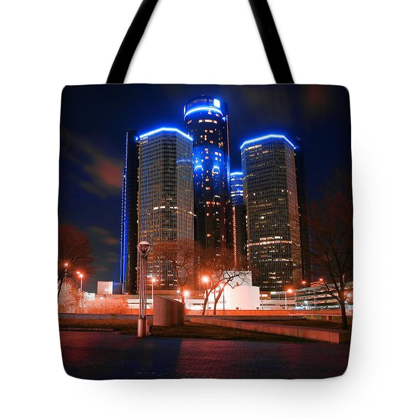 The Gm Renaissance Center At Night From Hart Plaza Detroit Michigan Tote Bag by Gordon Dean II