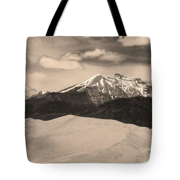 The Great Sand Dunes And Sangre De Cristo Mountains - Sepia Tote Bag by James BO  Insogna
