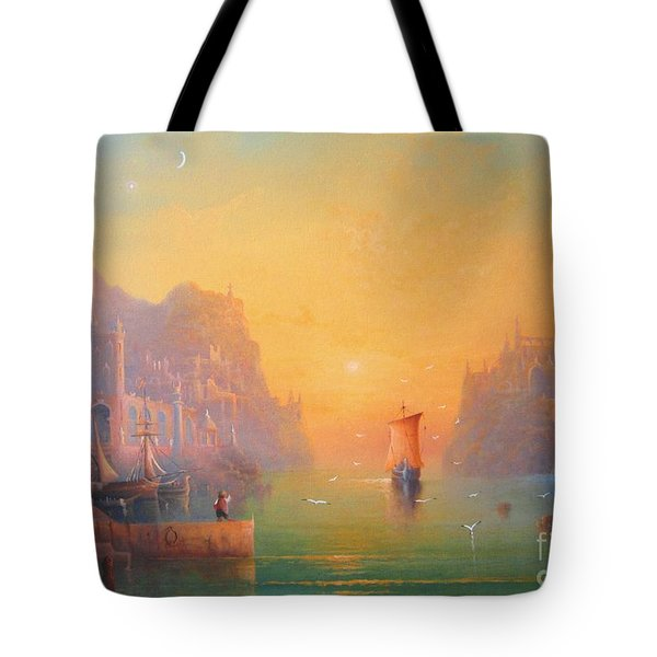 The Grey Havens. The Gulls Lament.  Oil On Canvas Tote Bag by Joe  Gilronan