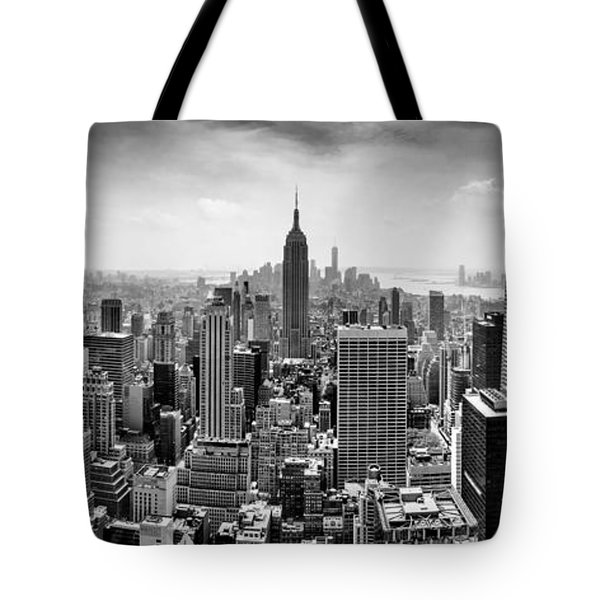 New York City Skyline Bw Tote Bag by Az Jackson