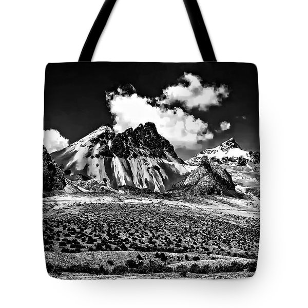 The High Andes Monochrome Tote Bag by Steve Harrington