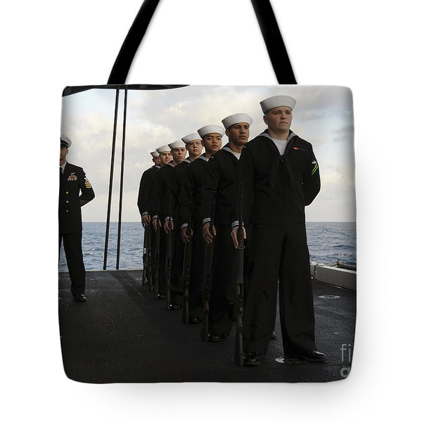 The Honor Guard Stands At Parade Rest Tote Bag by Stocktrek Images
