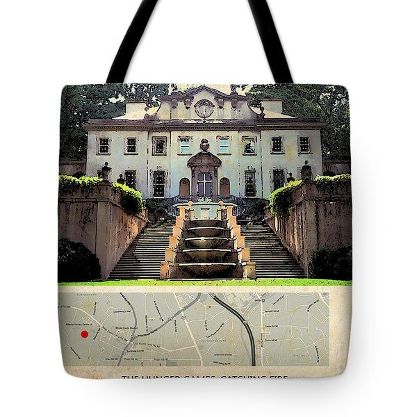The Hunger Games Catching Fire Movie Location And Map Tote Bag by Pablo Franchi