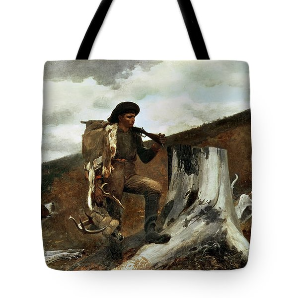 The Hunter And His Dogs Tote Bag by Winslow Homer