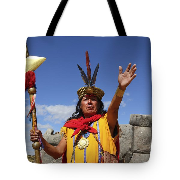 The Inca At Sacsayhuaman Tote Bag by James Brunker