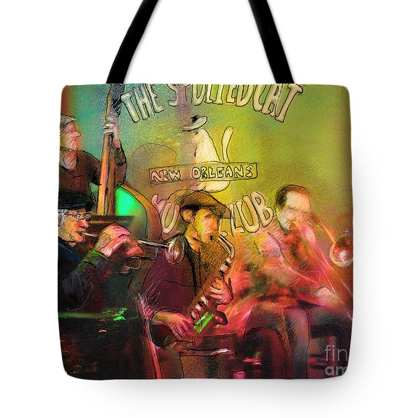 The Jazz Vipers In New Orleans 02 Tote Bag by Miki De Goodaboom