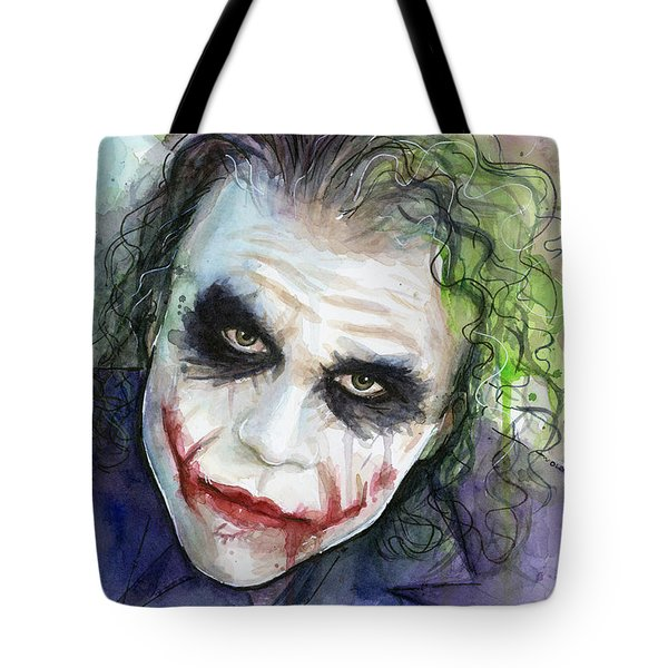The Joker Watercolor Tote Bag by Olga Shvartsur