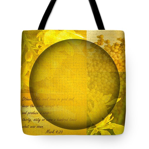 The Kingdom Of God Is Like A Mustard Seed Tote Bag by Ruth Palmer