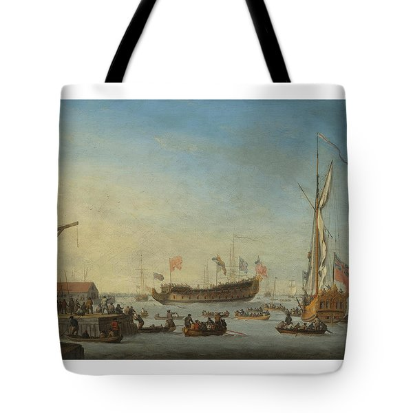 The Launch Of A Man Of War Tote Bag by Robert Woodcock